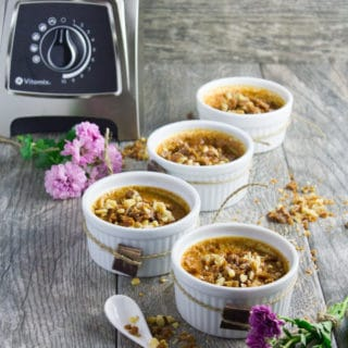Creamy Homemade Caramel Pudding. Luscious, velvety smooth and super quick to make--Get the recipe and video to pull off this impressive 5 star dessert using just 4 ingredients!! Plus that caramel walnut crunch topping--LOVE at first taste! www.twopurplefigs.com