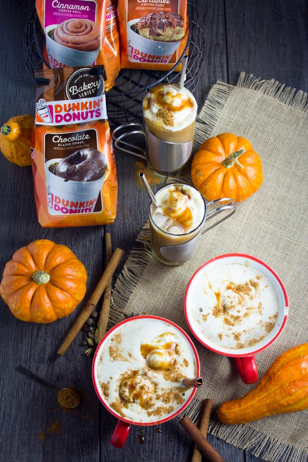 Chocolate Caramel Pumpkin Spice Coffee Drink. Perfectly Spiced Pumpkin with extra Cinnamon mixed with your choice of milk, combined with a Chocolate Donut Flavoured Coffee, whipped cream and Caramel--This is the BEST way to do a coffee drink! Get the recipe now! www.twopurplefigs.com