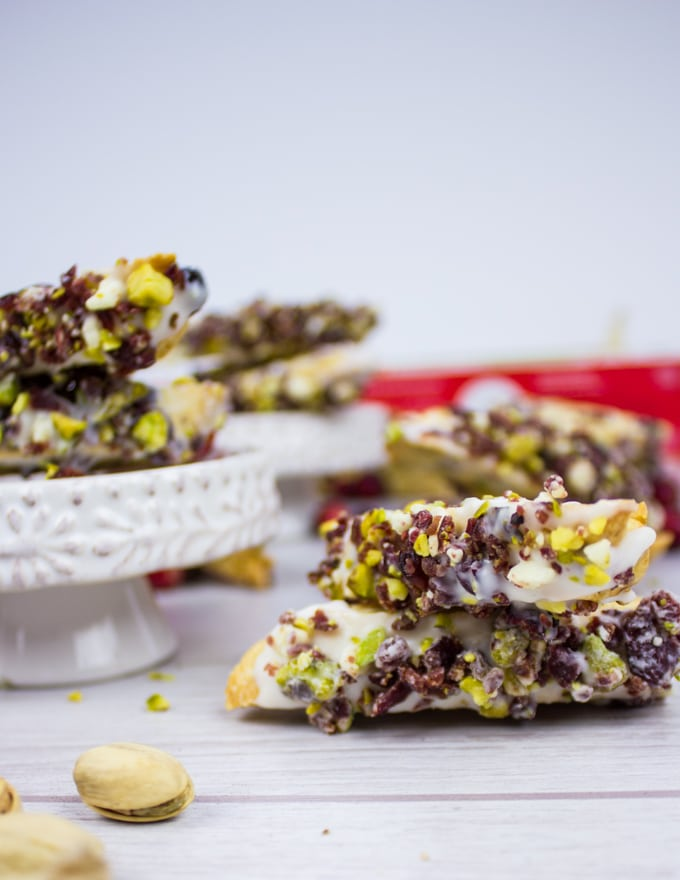 Cranberry Pistachio Biscotti stacked up