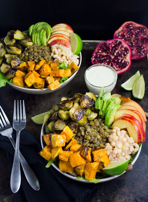 Lentil Fall Harvest Buddha Bowl with Tahini Dressing on the side