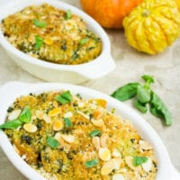 Easiest Roasted Butternut Squash Gratin. This quick and easy side dish makes the perfect addition to your Holidays, Potluck or every day meals! It's a combo of roasted butternut squash, basil cream, breadcrumbs and almonds--Seriously good stuff! Full recipe and step by step at www.twopurplefigs.com