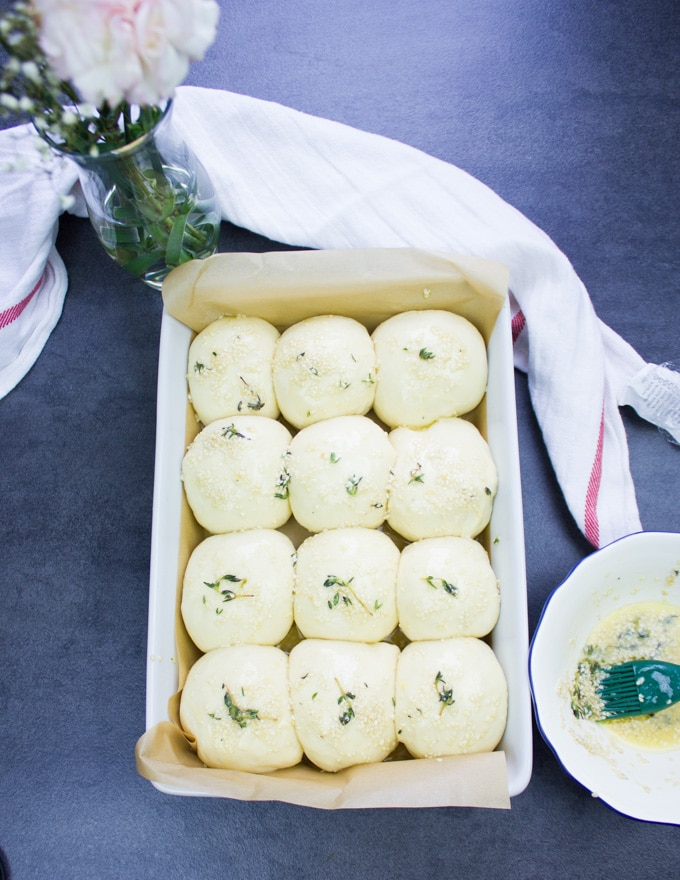 Dinner rolls shaped in the pan and ready to go in the oven