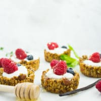Healthy Breakfast Granola Yogurt Cups. The perfect combo of crunchy almond chia honey granola with velvety smooth Greek yogurt in bits size goodness! Easy, versatile and the perfect way to start your day! Get the recipe with tips and tricks to make this today! www.twopurplefigs.com