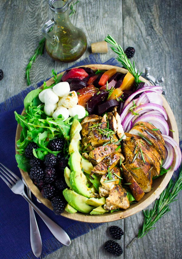 overhead shot of Italian Balsamic Chicken Salad with blackberries, arugula and beets - chicken salad recipe