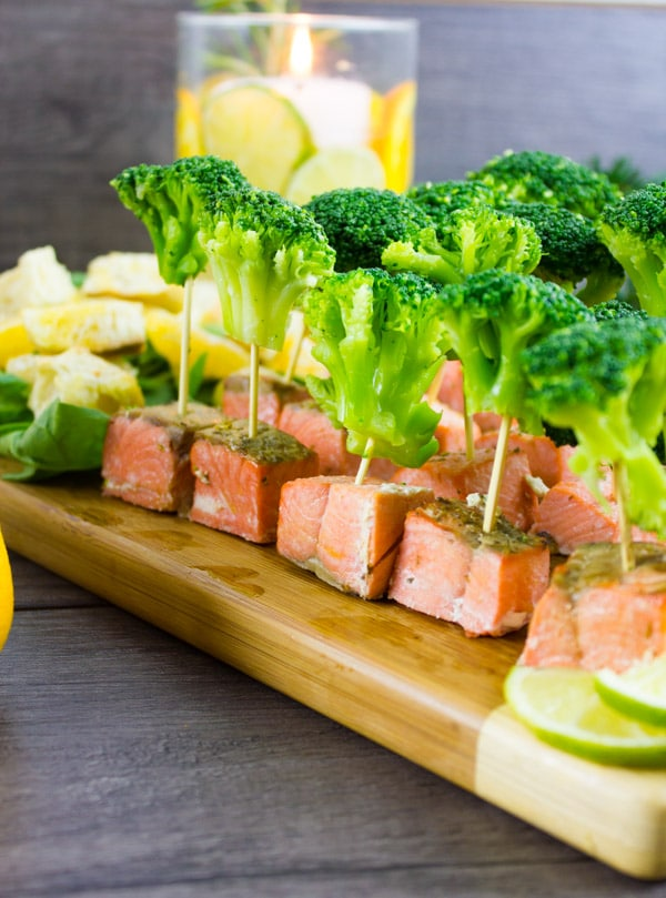 broccoli salmon bites on a wooden board