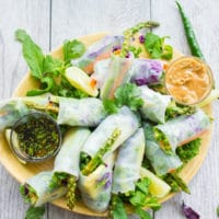 Thai Style Rice Paper Rolls with Two Dipping Sauces. Easy, fresh, simple and utterly delicious! So many tips, ideas and varieties to make these for a special occasion or quick snack! get the recipe www.twopurplefigs.com