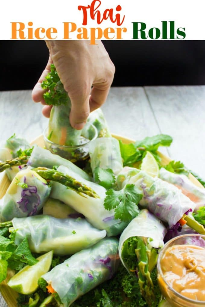 Long Pin Thai Style Rice Paper Rolls with Two Dipping Sauces
