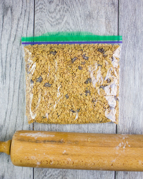 crushed raisin bran cereal in a zip-lock bag