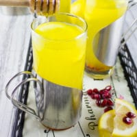 Soothing Lemon Ginger Turmeric Drink. The ultimate soothing and boosting drink to get you going! It's like a lemon ginger tea with the benefits of turmeric! get the recipe at www.twopurplefigs.com