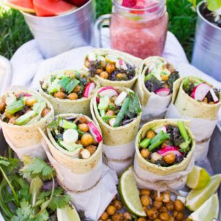 Best Roasted Chickpeas Wrap. Seriously the BEST. Fire Smokey Roasted Chickpeas layered on kale, avocados, radishes, scallions and a tortilla! Get the step by step and my secret sauce which bursts this wrap with flavor! www.twopurplefigs.com