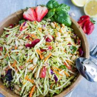 Italian Strawberry Balsamic Broccoli Slaw. This delicious twist on your average broccoli slaw takes it to a whole other level! Full recipe at www.twopurplefigs.com