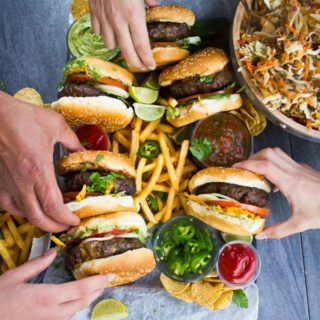 The Best Lamb Burgers Loaded with Nachos