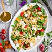 Warm Antipasto Platter Pasta. Summer Pasta Perfection--a cross of your favorite antipasto flavors and pure pasta comfort love! www.twopurplefigs.com