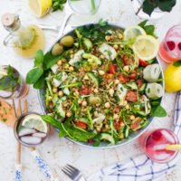 Healthy Mediterranean Farro Salad in a big salad bowl