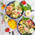 Grilled Salmon Power Blend Nourish Bowls. Freshness in a bowl--easy, quick with tips on grilling salmon! Even salad haters LOVE this recipe @ www.twopurplefigs.com