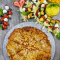 Mango Salad Dressing with Salad Sticks for Pizza Night.The best way to do pizza and salad with a sweet, divine twist! The dressing is one you'll make over and over for salads, sandwiches, dips and sauce for your chicken! www.twopurplefigs.com