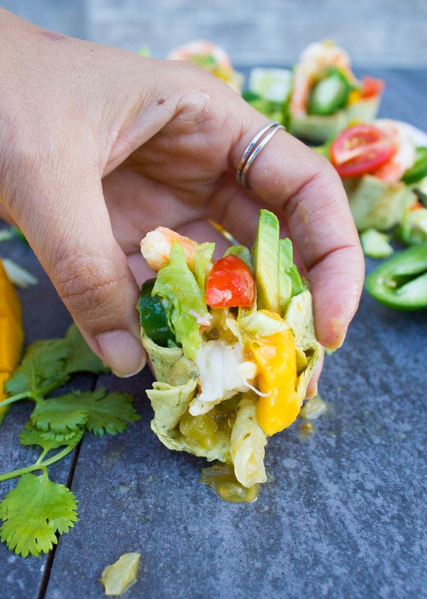 Spicy Shrimp in Tortilla Cups with Mango & Salsa Verde