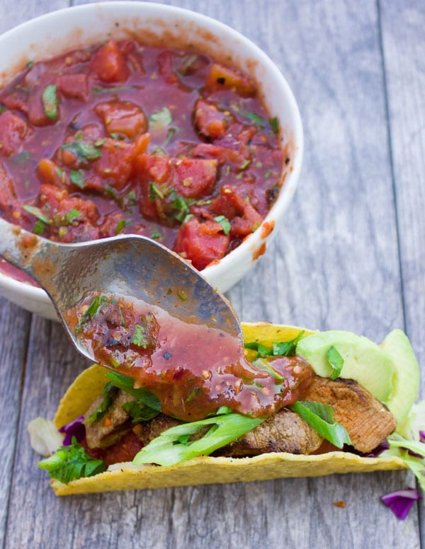 The Best Fire Roasted Salsa. Hearty and filling with a burst of flavor! These take over your average tacos to the next level!! www.twopurplefigs.com