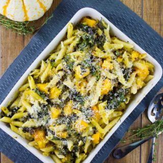 Fall Baked Pasta with Roast Pumpkin, Kale and Mushrooms.