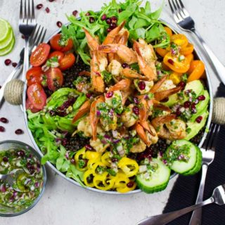 Shrimp Salad Recipe With Lentils Avocados And Shallot Vinaigrette. Easy, quick and filling homemade meal that's succulent and delicious! Get the recipe and tips on making this in a snap at www.twopurplefigs.com