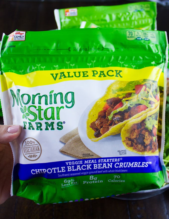 morning star black bean crumbles package
