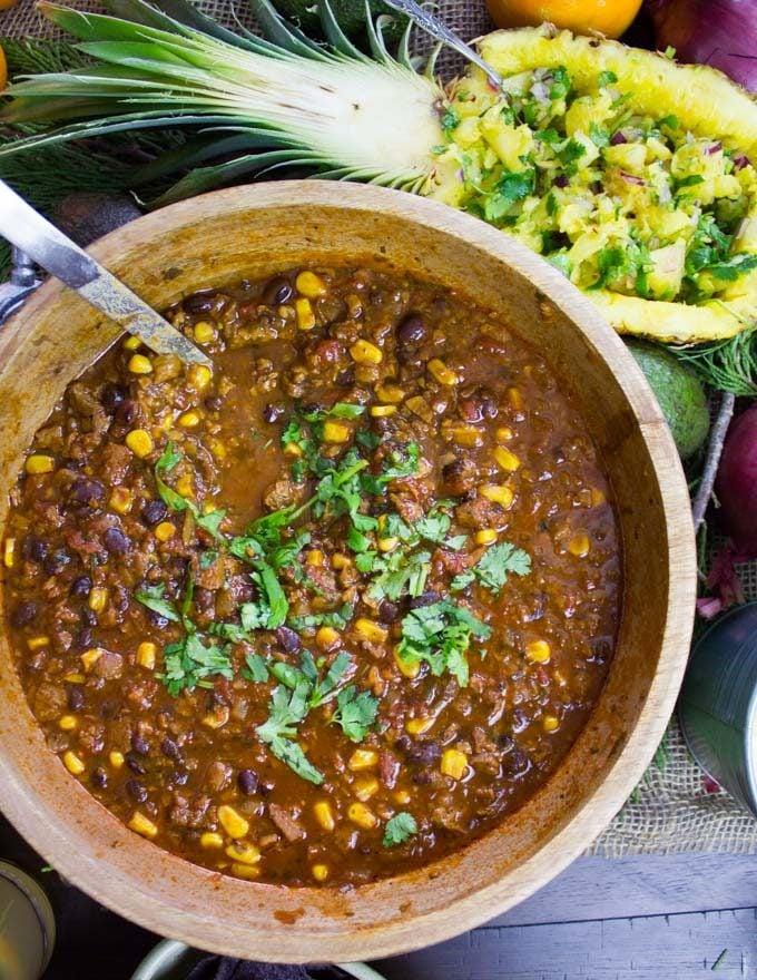 close-up of a pot of vegetarian chili