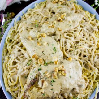Creamy Walnut Chicken Dinner. A super delicious comforting chicken dinner that looks, feels and tastes like a five star restaurant meal! Easy and Quick--you'll be surprised!