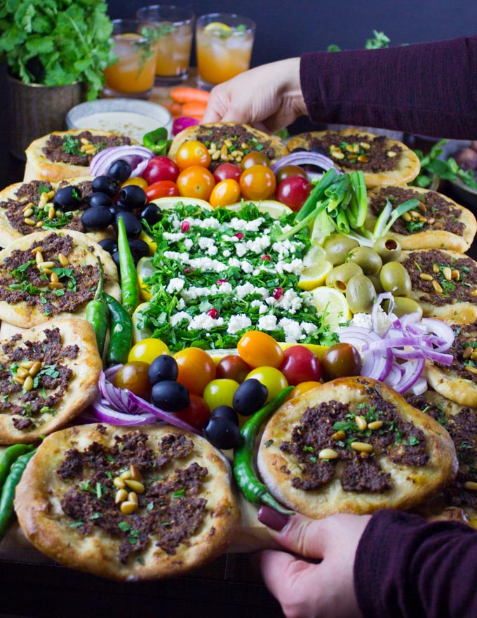 Game Day Mini Turkish Pizza Party. Insanely delicious, fun and easy recipe that's packed with flavors, textures and endless toppings!