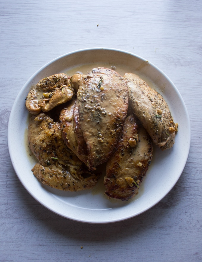 Ready pan seared and cooked chicken breasts