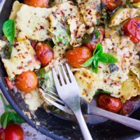 15 Minute One Pan Ravioli Recipe. The Easiest Simplest Things in life are sometimes the MOST delicious things!