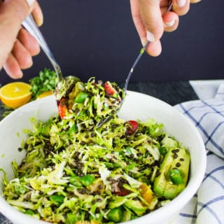 Citrus Lentil Salad with Shredded Brussels Sprouts