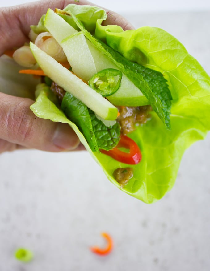a hand holding a Thai Chicken Meatballs lettuce wrap with Apple Peanut Sauce
