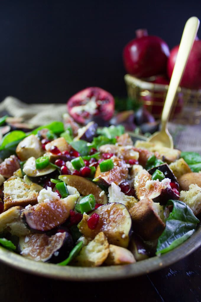 Bread Feta Salad with Figs. Easy, Simple Ingredients combined to make the most gourmet tasting salad ever!