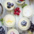 Easy Mini Lemon Pudding Cake in individual dessert glasses