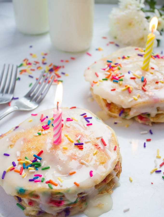 Fluffy Pancakes With Birthday Sprinkles. The perfect way to start your special day! Plus tips on making your pancakes fluffy no matter what your pancake skills are!