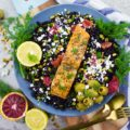 Blood Orange Salmon Salad With Orange Dill Dressing. Hearty, easy, filling, fresh, zesty and ultra delicious salad meal! The blood oranges take this salad to a whole new level!