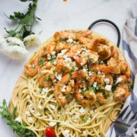 Long Pin Quick Shrimp Pasta with Garlic Feta Sauce