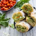Roast Veggie Sandwich with Basil Sauce. Light as air, fresh and loaded with flavors! Meet your new favorite beach trip, picnic, hiking and all outdoor fun sandwich!