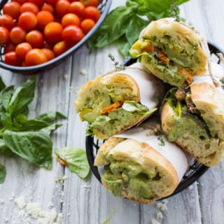 Roast Veggie Sandwich with Basil Sauce