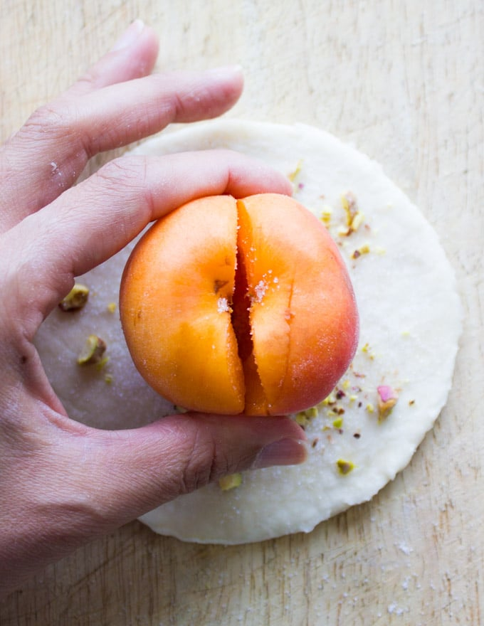 Easy Whole Apricot or Peach Pie. Delicious twist on a favorite summer pie! Wrapped whole in a pie crust for an easy speedy pie dream!
