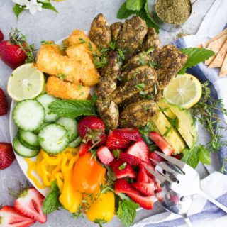 Zaatar Chicken Salad with Fried Halloumi Cheese