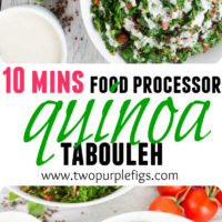 Quick Quinoa Tabouleh with Tahini sauce | www.twopurplefigs.com | This is the easiest and quickest way to make tabouleh salad using a food processor! Serve this healthy Lebanese salad with my creamy tahini dressing. #quinoa, #healthy, #lebanese, #vegan, #easy, #tahini, #gluten-free, #paleo