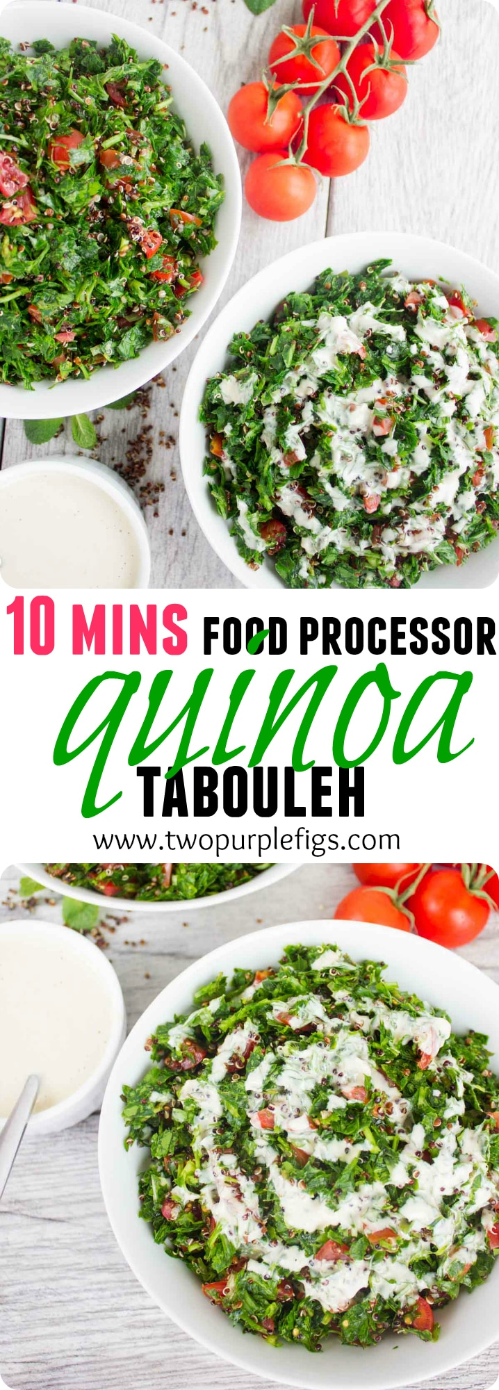 This Quick Quinoa Tabouleh with Tahini Dressing recipe is the best tabouleh recipe you can imagine, - all made in a food processor. The quinoa makes this traditional Lebanese salad gluten-free while adding a bunch of nutritional value and texture! #lunchrecipes, #easyrecipes, #healthysalad, #healthymealprep