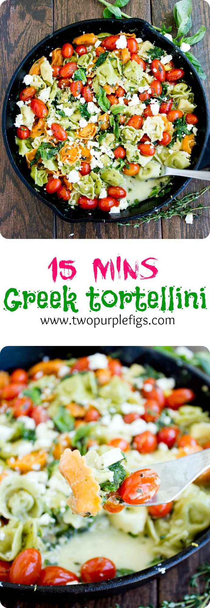 15 Minutes Greek Tortellini | This perfect 10 minute Greek cheese tortellini recipe is a simple, last-minute lunch or dinner you can whip up in 10 minutes! Loaded with garlic, herbs, feta cheese, tomatoes, and lemon zest—it's a burst of flavor and freshness. #pastaskillet, #greekrecipes, #tortellini, #easypastarecipes, #cheesetortellini