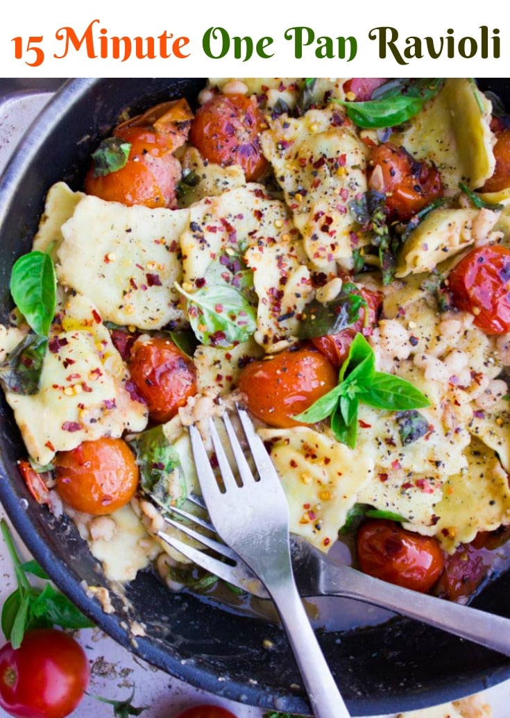 15 Minute One-Pan Ravioli with Tomatoes, Fresh Basil and Navy Beans | A quick vegetarian pasta recipe for busy weeknight dinners | www.twopurplefigs.com | #pasta, #easy, #onepot, #onepan, #vegetarian, #quick, #cheap, #Italian