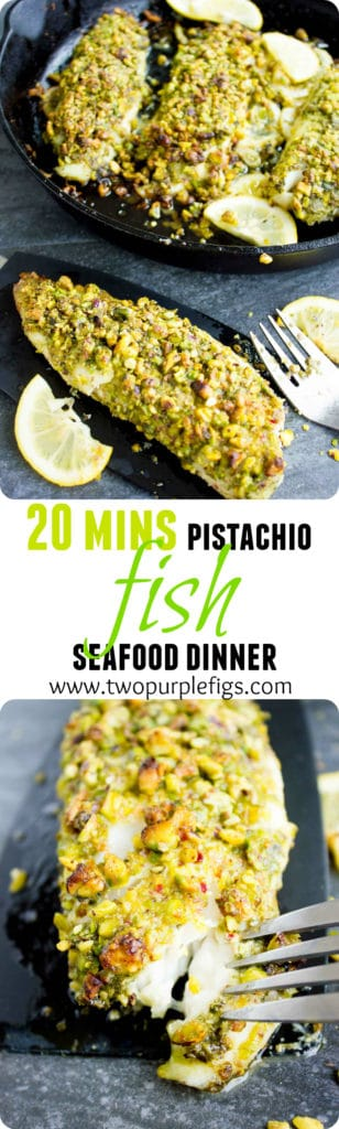 Pesto Pistachio Crusted Tilapia Fillets - a healthy seafood dinner ready in 20 minutes #healthy, #tilapia, #baked, #dinner, #lowcarb, #keto, #simple