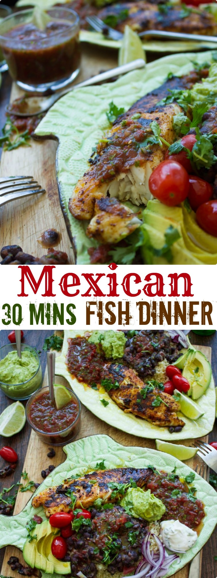Mexican 30 Minutes Fish Dinner | Pressed for time? This Mexican feast of pan-fried tilapia fillets with Mexican black beans, homemade guacamole and restaurant-style salsa comes together in just 30 minutes and is healthy, nutritious and outrageously delicious! #dinner, #healthy, #fish, #easydinner, #protein, #guacamole, #salsa, #Mexicanfood