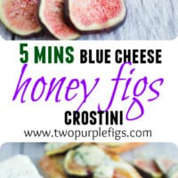 Blue Cheese Fig Crostini with honey | the perfect quick and easy last-minute appetizer or finger food to serve to guests! Serve these gorgeous creamy and fruity crostini fresh out of the oven sweetened with a drizzle of honey! | www.twopurplefigs.com| #appetizers, #easy, #party, #cold, #entertaining,