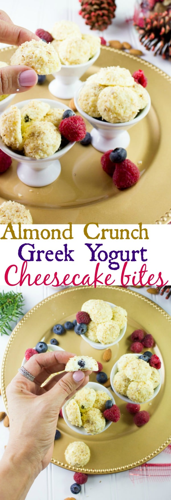 This Almond Crunch Greek Yogurt Cheesecake Bites recipe features a creamy dreamy vanilla cheesecake with a crunchy almond coating. These bite-sized desserts are made with only three ingredients, bake for only 10 mins and keep in the fridge for a week.#minidesserts, #cheesecakebites, #lightdesserts