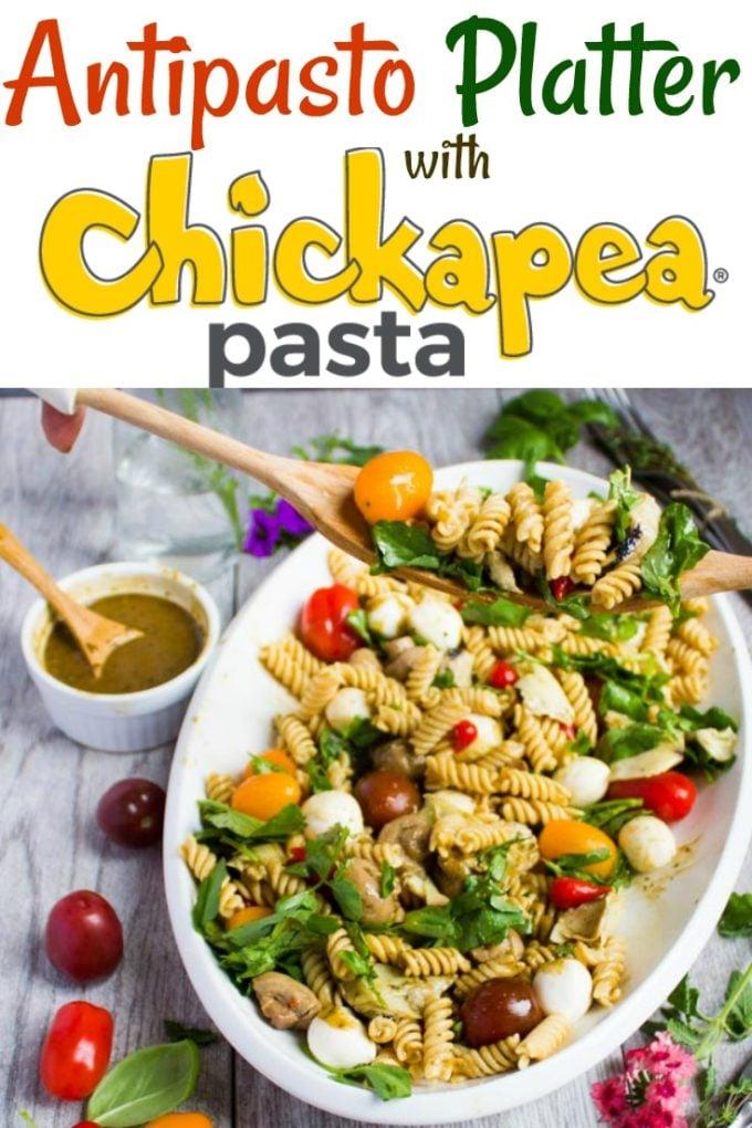 Warm Antipasto Platter with pasta - Pin